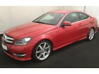 2015 RED MERCEDES C180 1.6 AMG SPORT EDITION AUTO COUPE CAR FINANCE FROM 58 P/W