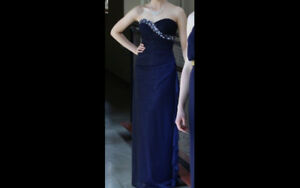 Strapless Grad Dress with Necklace, Earrings, and Bracelet