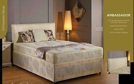 """◄◄ Flat 70% Off ►► Small Double / Double Divan Bed w Dual-Sided 10"""" Ambassador Orthopaedic Mattress"""