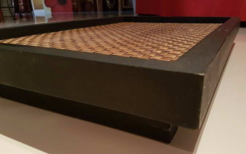 Raised Wooden bamboo cane mat weaved floor tray table