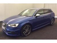 2015 BLUE AUDI S3 SPORTBACK 2.0 TFSI 300 QUATTRO 5DR AUTO CAR FINANCE FR £83 PW