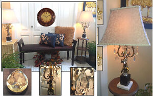 """2 Vintage LEVITON Beauties! Taller 'Crystal' TABLE LAMPS, H30"""""""