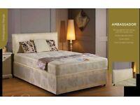 DIVAN BED SET + ORTHOPEDIC AND FULL MEMORY FOAM MATTRESS + PLAIN HEADBOARD OPTIONAL COLOURS