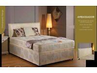 BLACK SEMIORTHOPAEDIC DIVAN BED SET + MATTRESS + HEADBOARD SIZE 3FT 4FT6 Double 5FT