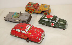 Old Tin Toy Cars Japan Windup Friction Toys Jeep Fire Chief