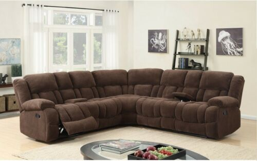 Living Room Modern Furniture 3pc Set Brown Velvet Fabric Look Sectional Sofa Set