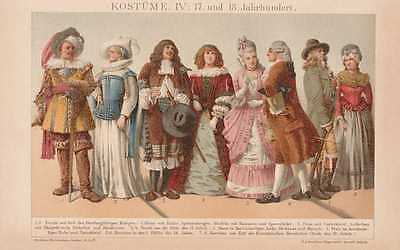 KOSTÜME Mittelalter 17. + 18. Jahrhundert LITHOGRAPHIE von 1898 - Kostüm 18 Jahre Alter