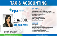 TAX FILING BY CPA,CGA $30 and above.Brampton/Mississauga/GTA