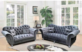 Chesterfield grey 3&2 Seater set available including local delivery