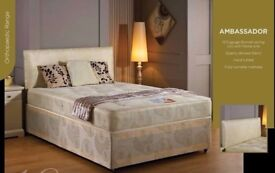 💚💛SAME DAY DELIVERY 💚💛NEW 4FT6 /4FT DOUBLE ITALIAN DIVAN BASE w ORTHO OR MEMORY FOAM MATTRESS