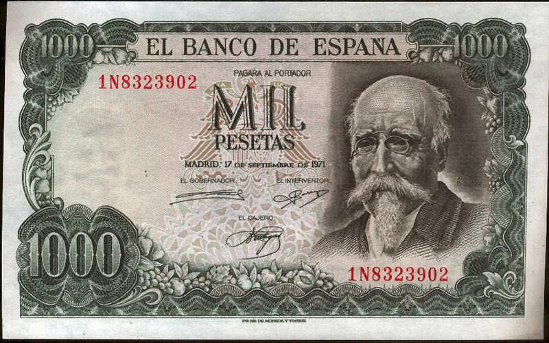 1000 Pesetas 1971 Echegaray @@Without Circular@@