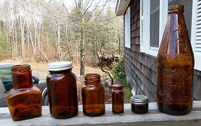 ~~ LOT OF 6 OLD BROWN BOTTLES & JARS ~~ CHECK IT OUT >>>>>>>>>>>>>>>>>>>>>>>>>>>