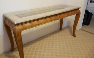 Reduced Price - Marble & cut glass top carved tables
