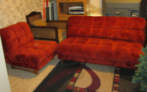 1970's Burnt Orange Velour Loveseat & Chair