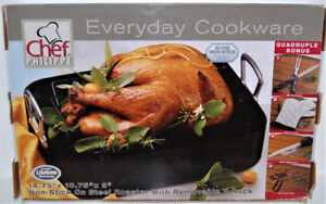 NEW IN BOX Non-Stick Roasting Pan with Rack and 4 BONUS Items
