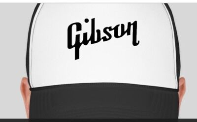 - GIBSON Logo Trucker Style Hat Cap Music Band Drum Guitar NEW Adjustable BW