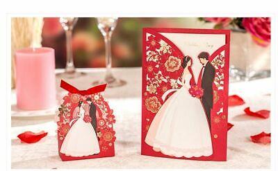 1set Red Luxury Wedding Invitations Card Box Elegant Bride and Groom Decoration