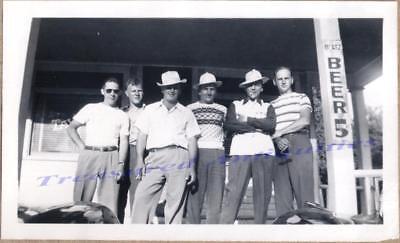 1940s Men Group on Tavern Porch Blatz Beer 5¢ Advertising Sign Fedora Hats Photo