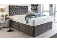 💖🌟Double Steel Grey Plush Velvet divan base+4 storage draws+Matching headboard+Comfy mattress