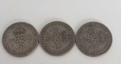 George VI Set Of 3 florin/two shilling coins. 1947, 1948 & 1951 99P