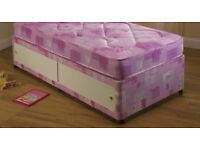 PINK Single divan bed with drawer and mattress, Free delivery