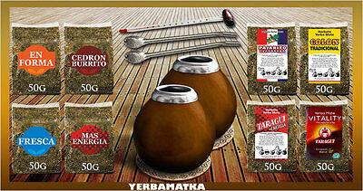 Yerba Mate Kits (Yerba Mate Tee Set 8x50g Tee + 2x Mate Tee Becher + Teethermometer + Zubehör KIT)