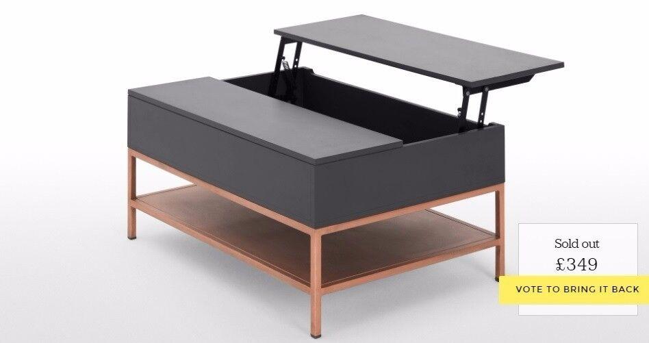 Made Com Lomond Storage Coffee Table Grey Copper Nottingham