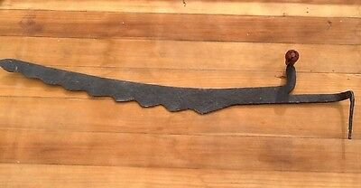 Rustic Farmhouse Hay Knife Saw Steel wood Black Primitive Barn Antique Farm