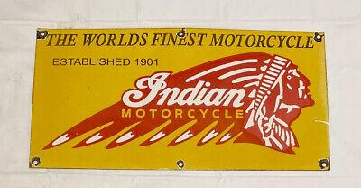 "VINTAGE INDIAN MOTORCYCLE 18"" PORCELAIN SIGN CAR GAS TRUCK GASOLINE AUTOMOBILE"