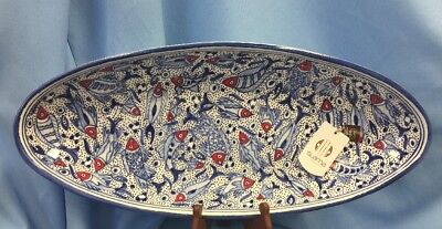"""NWT Spectacular Hand Made Fish Server Tray Bowl 21.5"""" X 9"""" X 2.5"""" Blue White Red"""