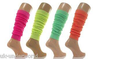 Ladies Girls Plain Neon Leg Warmers Retro Style Rave Emo Dance Fancy Dress 80's (80s Style Leg Warmers)