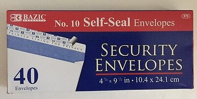 Bazic 40 10 Self-seal White Letter Long Security Envelopes 4-18 X 9-12
