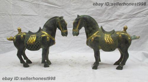 Chinese Folk Feng Shui Auspicious war horse statue Copper Bronze horse Pair