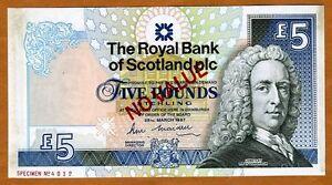 Archival-Specimen-Scotland-Royal-Bank-5-pounds-1987-P-347-aUNC-Rare
