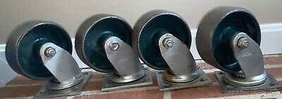 Green Vintage Industrial Metal Cast Iron Colson Caster Wheels 6.5