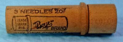 VTG. ADVERTISING BOYE BRAND SEWING MACHINE NEEDLE #14 WOOD HOLDER CASE