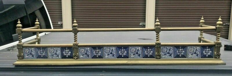ANTIQUE AESTHETIC VICTORIAN FIREPLACE SURROUND FENDER WITH MINTON TILES