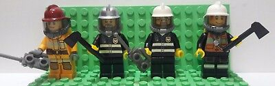 Lot of 4 LEGO Firefighter Minifigures # 2 (Lot 1A523)