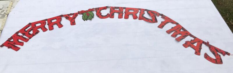 "VTG MCM Merry Christmas Garland Banner 1960s Beistle Die Cut 65"" x 5"""