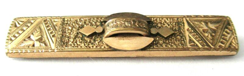 Victorian 9K Rolled Gold Engraved Design Bar Pin Brooch
