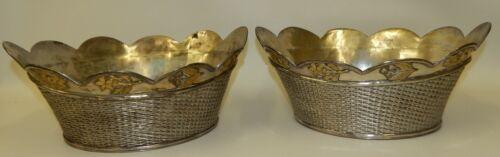 Pair Vintage Silver Plated Woven Basket Bowls Gold Tone Fruit Flower Decorations