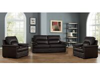 Brand New Clearance Sofa, Bonded leather Brown Cheap 2 Seater + 2 x Armchairs Discounted Very Cheap