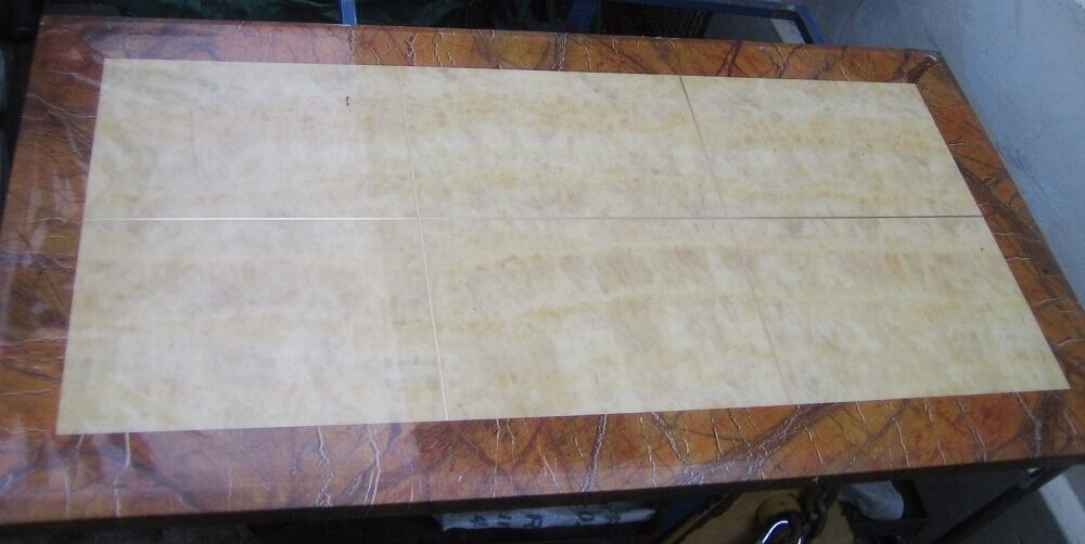Marble table top assembly, panel, heavy, decorative pattern light tiles, brown border