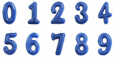 Blue Glitter Age Number Candle Birthday Party Cake Topper Decoration Gift Idea (Anniversary Party Ideas)