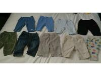 9 pairs of 0-3 month baby boys trousers