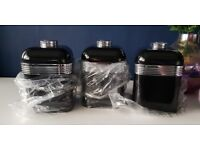 Set of 3 Swan Black Canisters