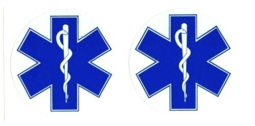 "Star of Life | EMS EMT MEDIC Firefighter | quantity 2, 3"" diameter stickers"