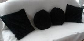 faux silk metallic swirl cushion covers with cushions inside - as new plus 2 round black cushions