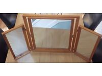 3 way free standing wooden mirror