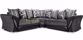 **7-DAY MONEY BACK GUARANTEE!** - Shannon Premium Fabric Corner Sofa Suite - SAME/NEXT DAY DELIVERY!